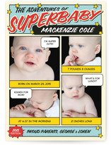 Super Baby Comic Book Birth Announcements