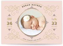 Elegant Scroll Birth Announcements