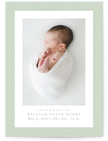 Linen frame Birth Announcements