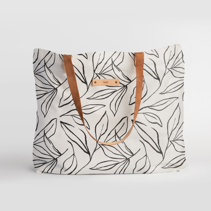 ink line leaves Carry-All Slouch Tote