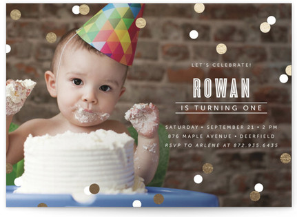 Confetti Foil-Pressed Children's Birthday Party Invitations