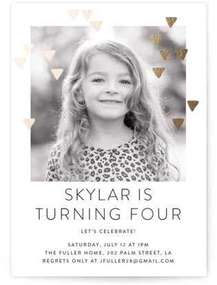 Modern Glow Foil-Pressed Children's Birthday Party Invitations