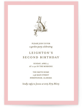 Classic Bunny Children's Birthday Party Invitations