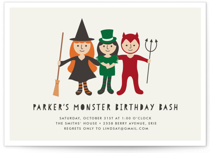 Little Monsters' Bash Children's Birthday Party Invitations