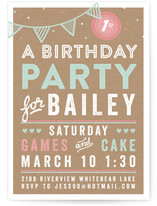Games And Cake Kids Party Invitations