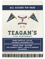 Baseball Game Pass Children's Birthday Party Invitations