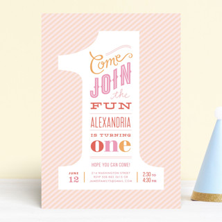 The Big One Children's Birthday Party Invitations