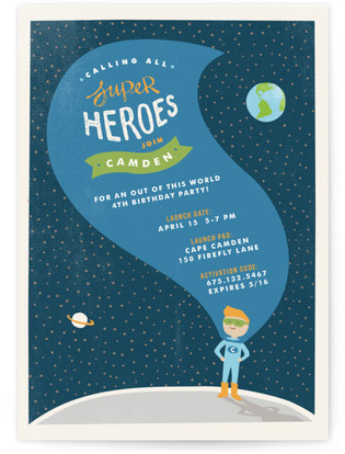 Up Up and Away Children's Birthday Party Invitations