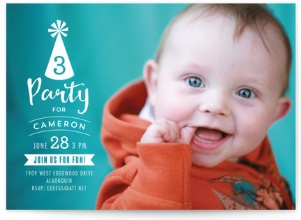 A Party Hat Children's Birthday Party Invitations