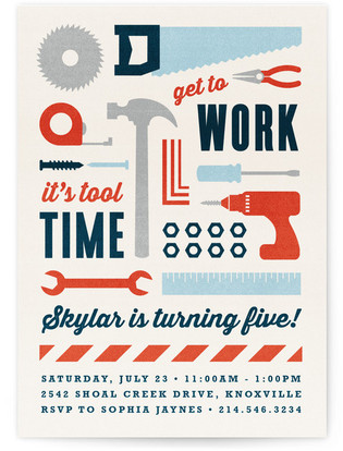 Tool Time Children's Birthday Party Invitations