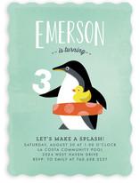 Penguin Splash Children's Birthday Party Invitations