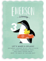 Penguin Splash Kids Party Invitations