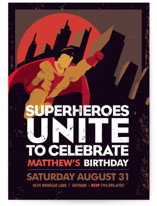 Super Heroes Children's Birthday Party Invitations