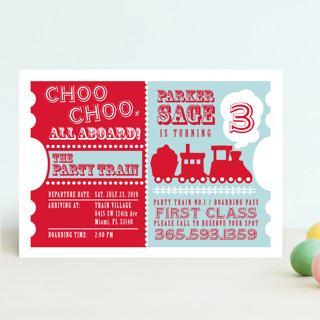 Choo Choo Train Children's Birthday Party Invitations