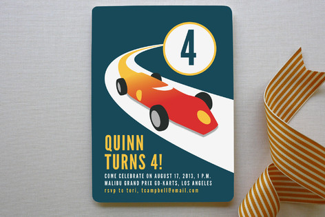 Vintage Race Car Children's Birthday Party Invitations
