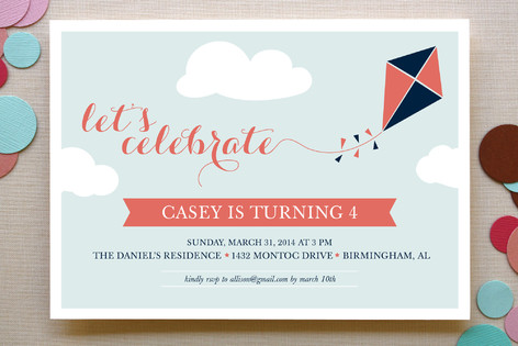 Kite Children's Birthday Party Invitations