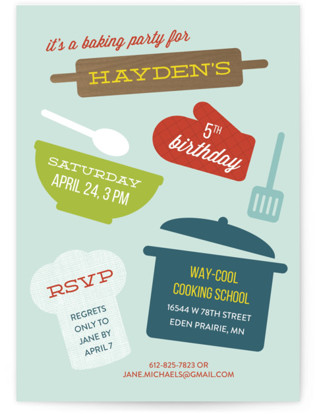 Baking Party Children's Birthday Party Invitations