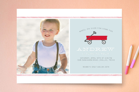 Little Red Wagon Children's Birthday Party Invitations