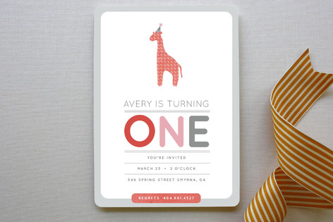 Giraffe Calf Children's Birthday Party Invitations