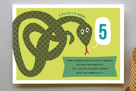 Snake Children's Birthday Party Invitations