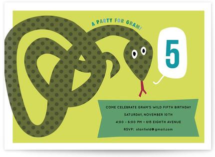 Snake Children's Birthday Party Invitations