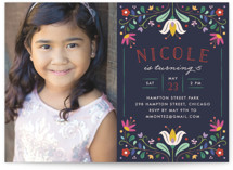 Folk Florals Kids Party Invitations