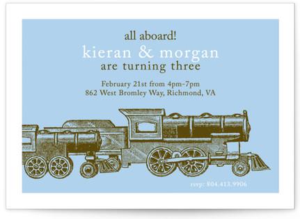 Antique Train Children's Birthday Party Invitations