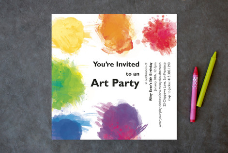 Artist's Palette Children's Birthday Party Invitations