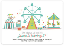 Theme Park Children's Birthday Party Invitations