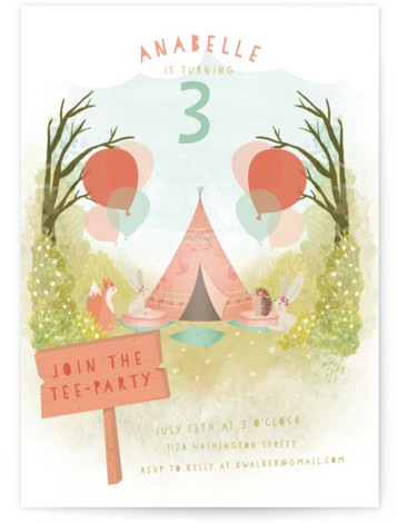 Tee Party Children's Birthday Party Invitations