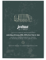 Vintage Gaga Over Garbage Trucks Children's Birthday Party Invitations