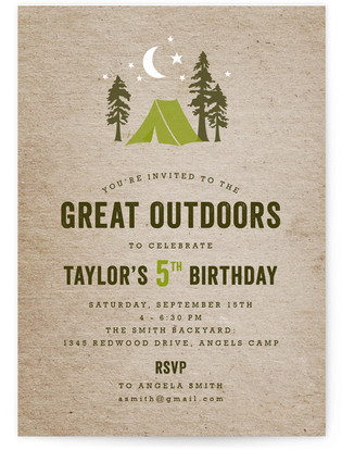 Campsite Children's Birthday Party Invitations