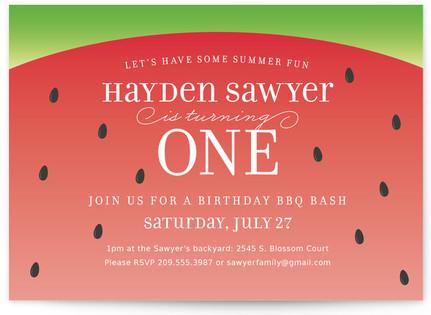 Watermelon Children's Birthday Party Invitations