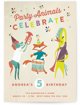 Festive Animals Children's Birthday Party Invitations