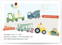 Trucks on Parade Children's Birthday Party Invitations