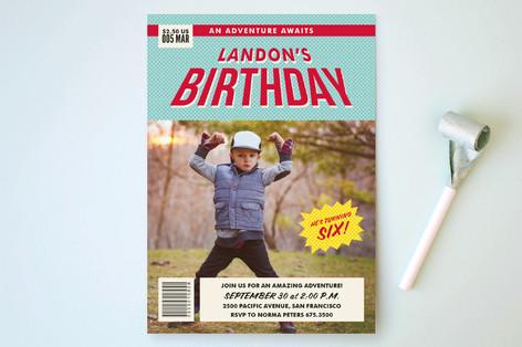 Comic Book Superhero Children's Birthday Party Invitations