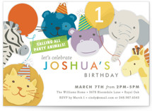 Safari Party Animals Kids Party Invitations