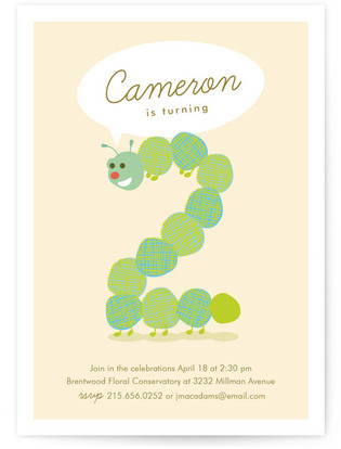 Little Caterpillar Children's Birthday Party Invitations