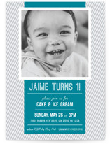 Modern Banner & Stripes Children's Birthday Party Invitations