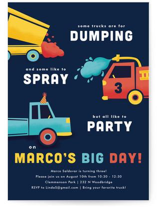 Party Trucks Children's Birthday Party Invitations