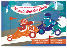 Road Rally Birthday Children's Birthday Party Invitations
