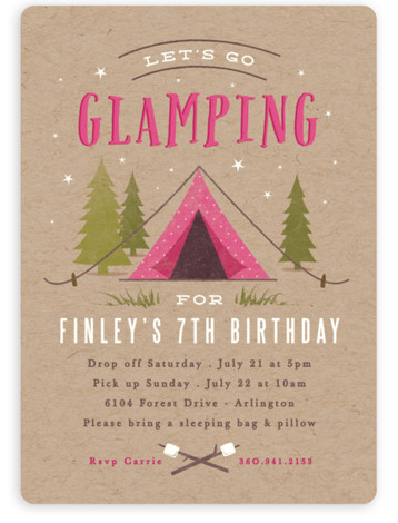 Let's go glamping Children's Birthday Party Invitations