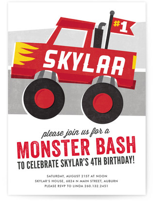 Mighty Monster Truck Children's Birthday Party Invitations