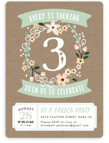 Garden Wreath Kids Party Invitations