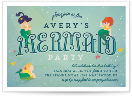 Mermaids Children's Birthday Party Invitations