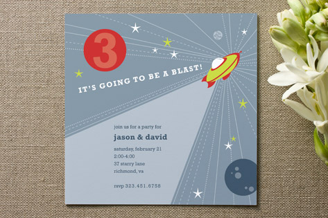 Rocket Blast Children's Birthday Party Invitations