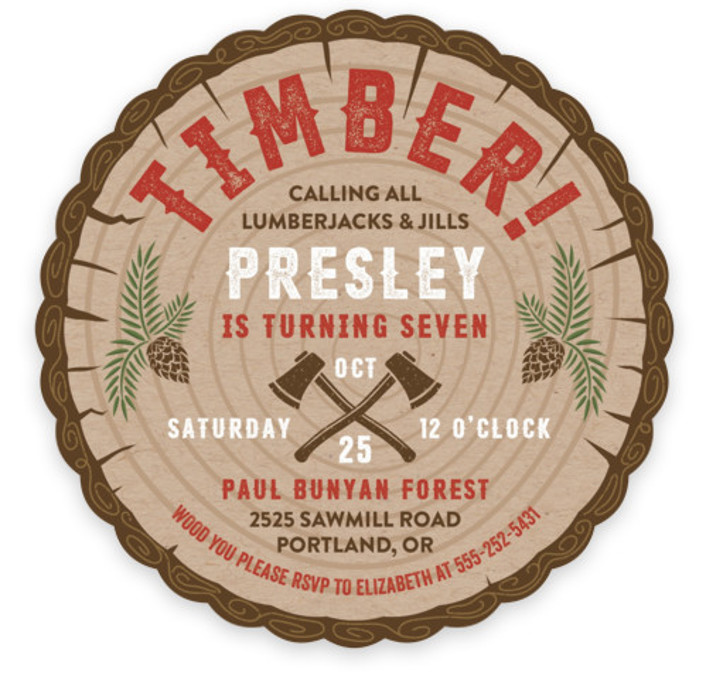 Timber! Children's Birthday Party Invitations