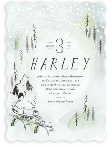 Winter Train Children's Birthday Party Invitations