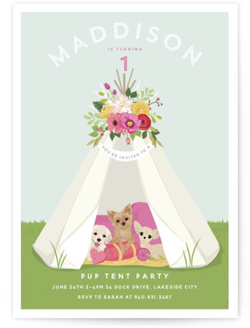 Pup Tent Party Children's Birthday Party Invitations