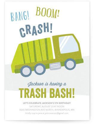 Trash Bash Children's Birthday Party Invitations